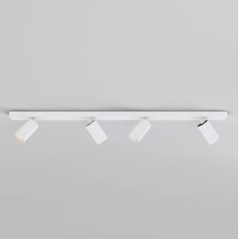 Can 50 Four Adjustable LED Spotlights on a Bar in Matt White 30.3W 3000K Dimmable for Wall / Ceiling Astro 1396013