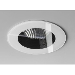IP65 Vetro Round LED Downlight in White using a 6W 3000K 629lm Dimmable COB LED, Astro 1254013