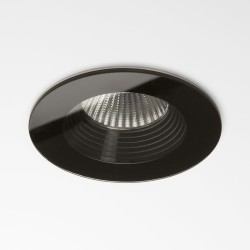 IP65 Vetro Round LED Downlight in Black using a 6W 3000K 629lm Dimmable COB LED, Astro 1254016