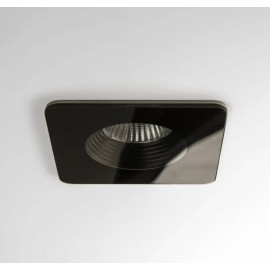 Vetro Square Black LED Downlight IP65 rated 6W 3000K Warm White, Dimmable LED Recessed Light Astro 1254017