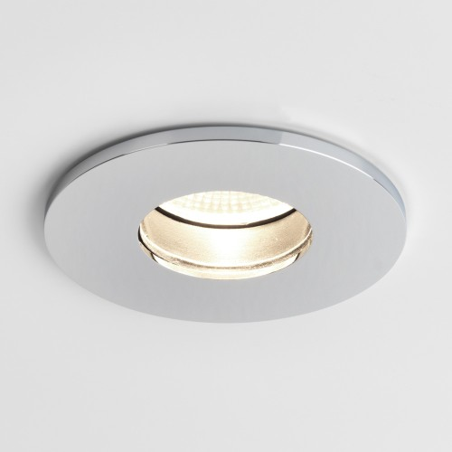 Obscura Round Fire Rated Fixed LED Downlight in Polished Chrome IP65 6.5W 2700K Dimmable LED Astro 1381001