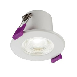 5W IP65 Fire Rated LED Downlight 3000K Warm White 570lm Dimmable in White, 84mm Diam x 55mm Cutout Knightsbridge CFR5CWW