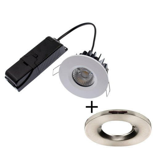 ELAN LED Fixed Downlight 8W 4000K 820lm IP65 Dimmable Fire Rated with Brushed Nickel Bezel with 60 deg Beam ELAN-4K-BN