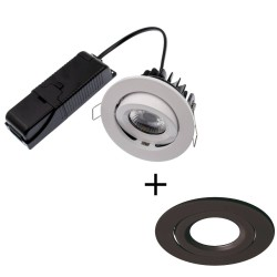 ELAN LED 8W 3000K Fire Rated Tilt Downlight Dimmable with Black Bezel IP20 rated 800lm 60deg Beam