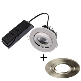 ELAN LED 8W 4000K Fire Rated Tilt Downlight Dimmable with Brushed Nickel Bezel IP20 rated 820lm 60deg Beam