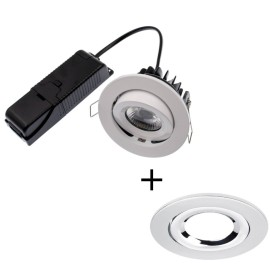 ELAN LED 8W 4000K Fire Rated Tilt Downlight Dimmable with Chrome Bezel IP20 rated 820lm 60deg Beam