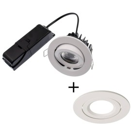 ELAN LED 8W 4000K Fire Rated Tilt Downlight Dimmable with White Bezel IP20 rated 820lm 60deg Beam