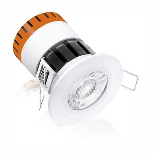 IP65 Fixed Dimmable Integrated 8W LED Downlight Fire Rated 3000K in Matt White 60deg Beam Enlite EN-DE8/30