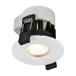 IP65 Fire Rated Dimmable LED Downlight 3000K with a White Bezel, 72mm Cutout 565lm 45deg Beam Knightsbridge RW5WW