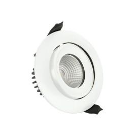 IP65 Fire Rated Matt White Tilting LED Downlight 9W 4000K 680lm Dimmable 36deg Beam 92mm Cutout