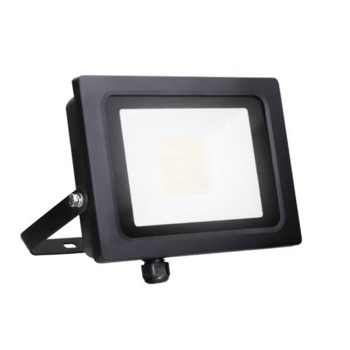 30W IP65 Black Slim CCT LED Floodlight with Tri-Colour Selectable 3000K, 4000K, 6000K, All-LED Hunter 30W LED Flood