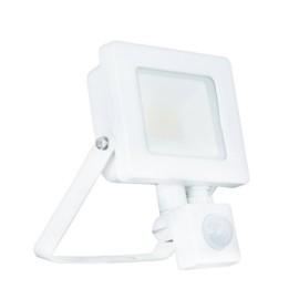10W IP65 White Slim CCT LED Floodlight with Tri-Colour Selectable and Adjustable PIR, ALL-LED AFL010/CCT/PIR/W Hunter LED Flood with PIR