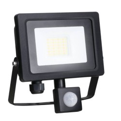 20W IP65 Black Slim CCT LED Floodlight with Tri-Colour Selectable and Adustable PIR, ALL-LED AFL020/CCT/PIR Hunter LED Flood with PIR