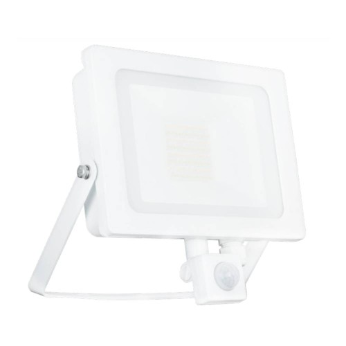 50W IP65 White Slim CCT LED Floodlight with Tri-Colour Selectable and Adjustable PIR, ALL-LED AFL050/CCT/PIR/W Hunter LED Flood with PIR