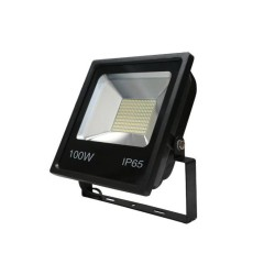 100W SMD LED Floodlight 6500K 8000lm in Black IP65 rated with Bracket for Security and Outdoor Lighting