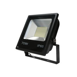 70W SMD LED Floodlight 6500K 6100lm in Black IP65 rated with Bracket for Security and Outdoor Lighting