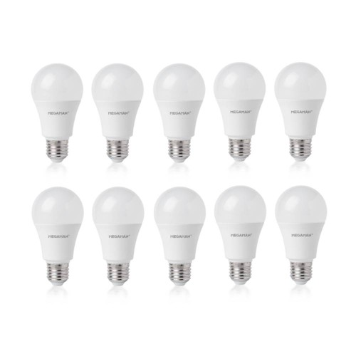 Pack of 10 Megaman 709637 8.8W E27/ES LED GLS Light Bulbs 2800K Warm White GLS Style (non-dimmable) - Save Money on LED Lamps!