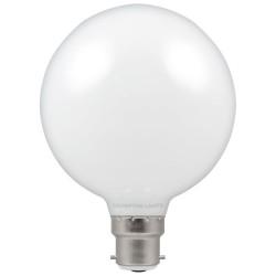 7W BC-B22d LED Opal Globe Lamp G95 2700K Extra Warm White 806lm, Dimmable LED Filament Globe Crompton 12660
