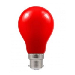 1.5W BC-B22d Red Coloured LED Lamp with GLS shape and IP65 Rating, Non-Dimmable