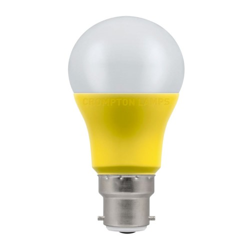 9W 110V LED GLS Thermal Plastic 2700K BC/B22d, Special Purpose GLS Lamp in Yellow and Opal Diffuser Crompton 11915