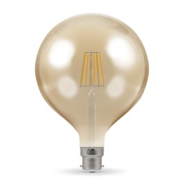 7.5W BC/B22d Dimmable LED Filament Globe Lamp 2200K 638lm, Round Vintage Lamp Antique Bronze