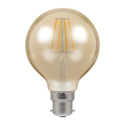 5W BC/B22d Dimmable LED Filament Globe Lamp 2200K 410lm, Round Vintage Lamp Antique Bronze