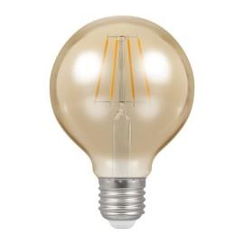 5W ES/E27 Dimmable LED Filament Globe Lamp 2200K 410lm, Round Vintage Lamp Antique Bronze