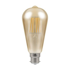 7.5W BC/B22d Dimmable LED Filament Lamp 638lm 2200K with Antique Bronze Glass