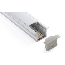 2m Flush Aluminium Profile with Opal Diffuser for Single Row LED Strip Lights, 17mm width x 12.7mm height