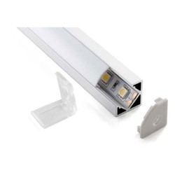 2m Surface Mounted 90 Degree Corner Aluminium Extrusion Profile with Frosted Diffuser for Single Row LED Strip