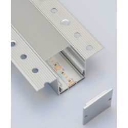 Plasterboard Mounted 2m Aluminium Profile with Diffuser, IP20 35mm x 35mm Recessed Profile