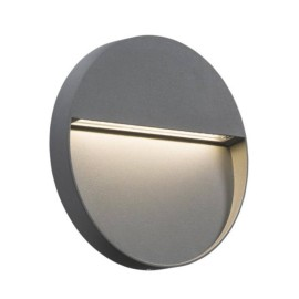 IP44 2W 3500K LED Round Surface Wall Light 115mm dia in Grey, Surface-mounted Wall/Guide Light Non-Dimmable