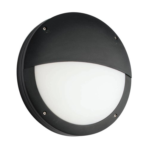 Luik LED Eyelid Bulkhead Casing 18W Cool White IP65 in Black for Outdoor Surface Mounting