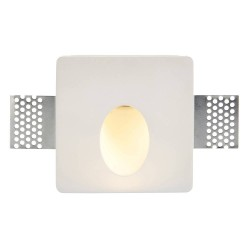 Zeke Square Trimless Plaster-in Wall LED Light 1.5W 3000K Warm White 120lm, Saxby Lighting 92312 Paintable Plaster LED