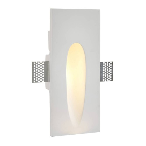 Zeke Rectangle Trimless Plaster-in Wall LED Light 1.5W 3000K Warm White 120lm, Saxby Lighting 92312 Paintable Plaster LED