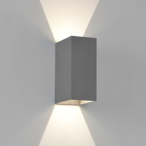 Oslo 160 LED Up-Down Wall Light Textured Painted Silver IP65 2 x 3W 3000K for Exterior Lighting, Astro 1298001