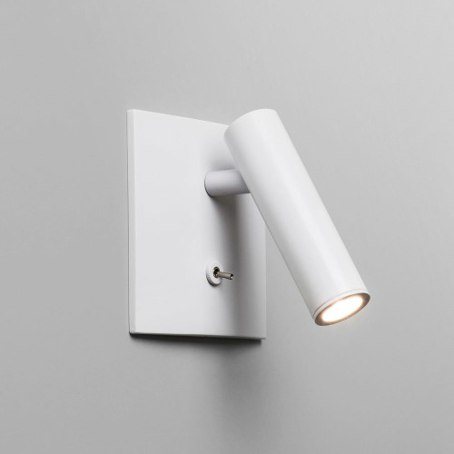 Enna Square Switched LED Wall Light in Matt White using Adjustable Head 4.47W 2700K LED, Astro 1058016