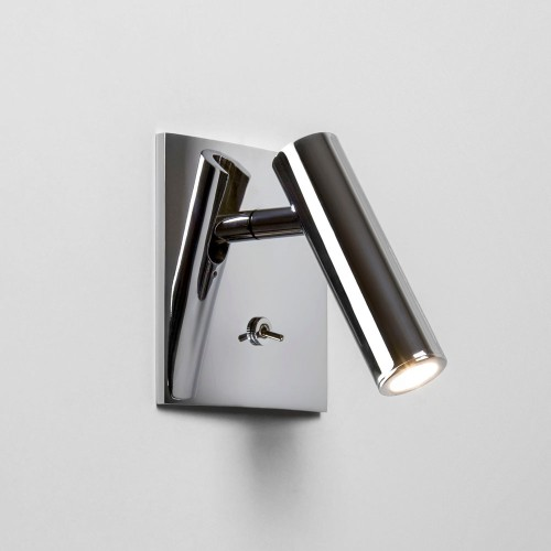 Enna Square Switched LED Wall Light in Polished Chrome using Adjustable Head 4.5W 2700K LED, Astro 1058019