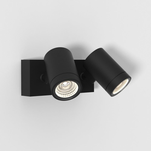Bayville Twin Wall LED Spotlight Adjustable IP65 in Textured Black 15.9W 3000K Dimmable, Astro 1401002