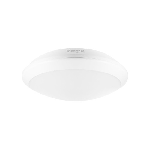 24W IP66 Tough-Shell+ White LED Bulkhead with Microwave Sensor, 4000K 2500lm IK10 350mm Diameter