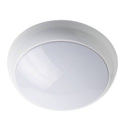 IP65 Wattage and CCT Switchable 3hr Emergency LED Bulkhead with Microwave Sensor in White Non-dimmable 316mm Diameter