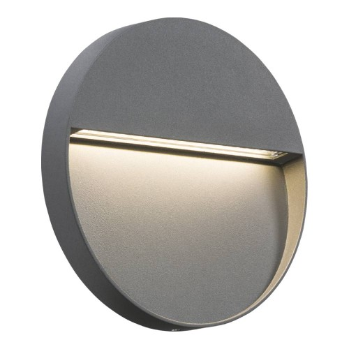 IP44 4W 3500K LED Round Surface Wall Light 220mm dia in Grey, Surface-mounted Wall/Guide Light Non-Dimmable