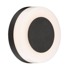 10W LED Round Outdoor Wall Light IP54 in Matt Black 3000K Warm White with Two Magnetic Interchangeable Plates, Knightsbridge RD10BK