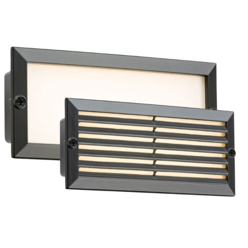 230V IP54 5W 3500K White LED Brick Light with Black Plain / Louvre Fascia and Opal Diffuser