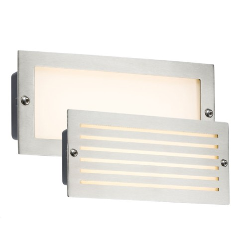 230V IP54 5W 3500K White LED Brick Light with Brushed Steel Plain / Louvre Fascia and Opal Diffuser