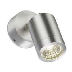 IP65 3W 3500K LED Adjustable Wall Spotlight in Brushed Chrome, Non-dimmable LED Exterior/Interior Lamp