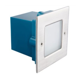 IP54 0.6W 10lm 3000K Square Recessed LED Light Fitting in Matt Chrome Non-dimmable, Kanlux 26460 TAXI