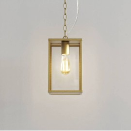 Homefield Pendant 240 in Natural Brass with Transparent Glass IP44 12W E27/ES LED lamp for Exterior Lighting, Astro 1095035