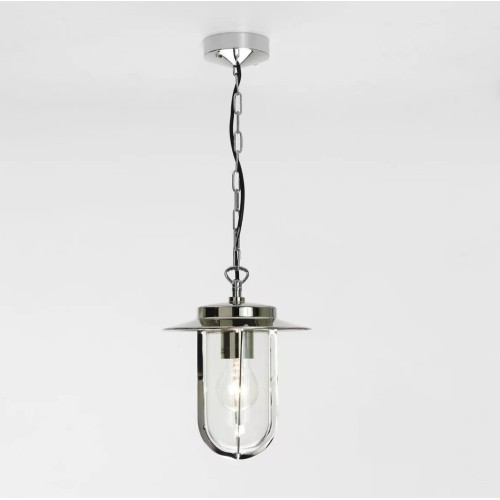 Montparnasse Polished Nickel Pendant with Clear Glass for Exterior Lighting IP44 12W max LED E27/ES, Astro 1096004
