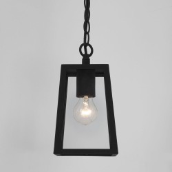 Calvi Pendant 215 in Textured Black with Clear Glass for Outdoor Ceiling Lighting IP23 12W LED E27/ES Astro 1306003